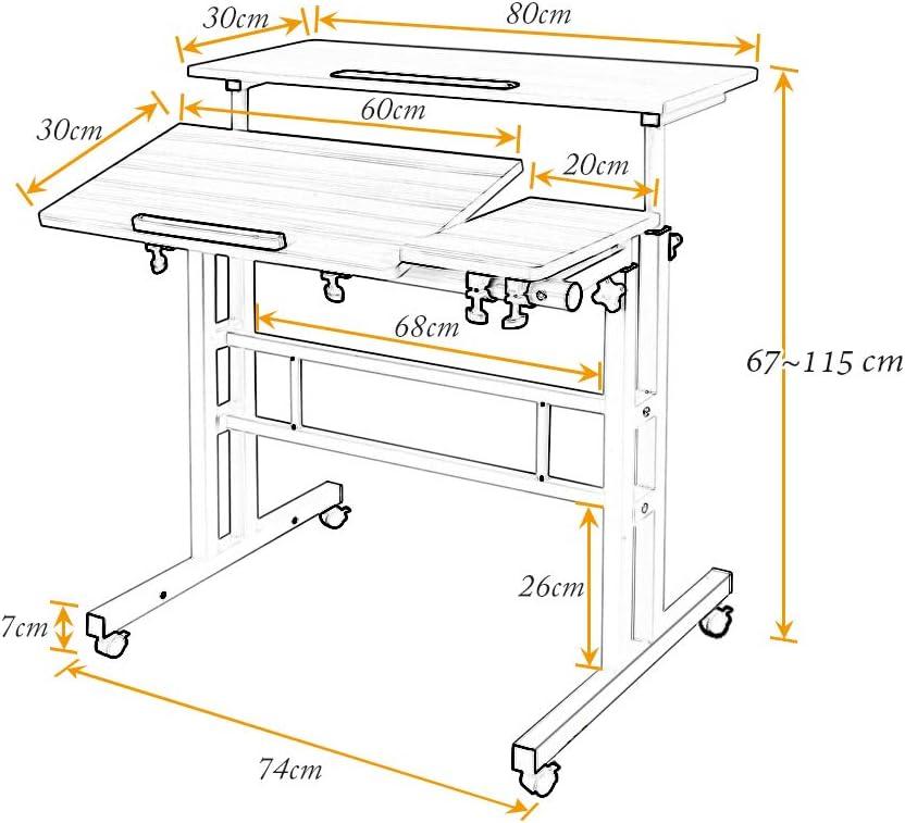 cm Table Roulante de Lit Canap/é pour Ordinateur Portable Hauteur R/églable,Table dappoint Bout de canap/é Mobile avec roulettes,SH-ZS-101-2-MP 30+30 SogesHome 80*