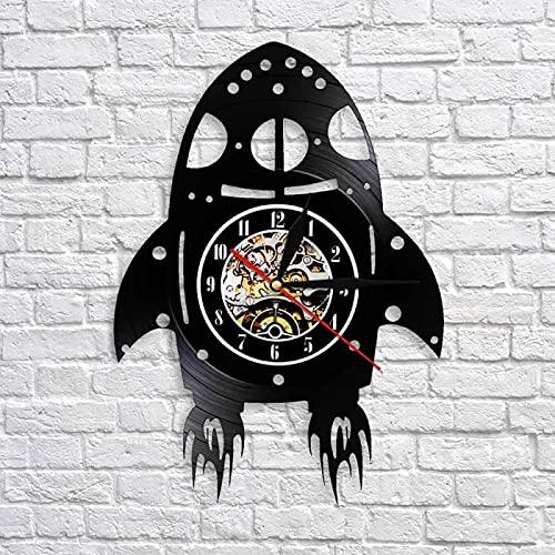 SHILLPS Cohete Led Reloj De Pared De Vinilo Vintage Silueta Record Hecho A Mano Regalo Hogar Reloj De Pared Decoración Interior Reloj De Arte