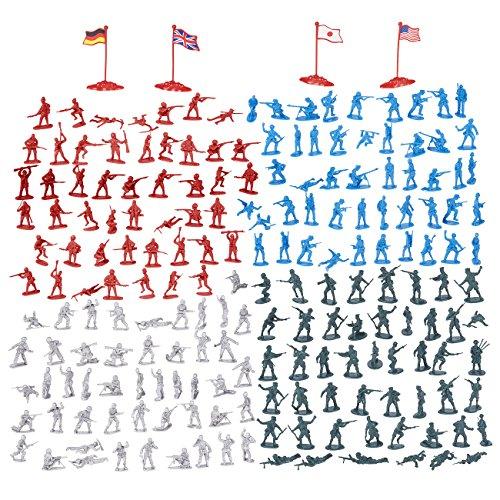 Militärfiguren-Set von Juvale (200 Teile) - Miniatur-Spielzeug-Soldaten in 4 Farben und verschiedenen Posen, Spielset Zweiter Weltkrieg mit 4 Flaggen - Kunststoff - Grau, Grün, Blau, Rot