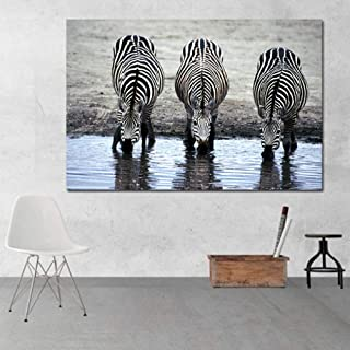 RTCKF Animal Dibujo Cebra Agua Potable Lienzo impresión en Blanco y Negro Arte Moderno Lienzo impresión decoración (sin Marco) A5 60x90cm