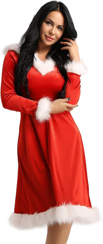 Agoky Women Girls Luxury Velvet Holiday Dress Limited price sale C Department store Christmas Hooded