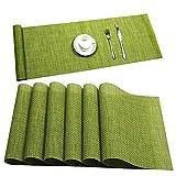 U'Artlines - Mantel Individual de Vinilo Tejido Crossweave con Aislamiento de Calor, Lavable, manteles Individuales, Vinilo, G Verde, 6+1