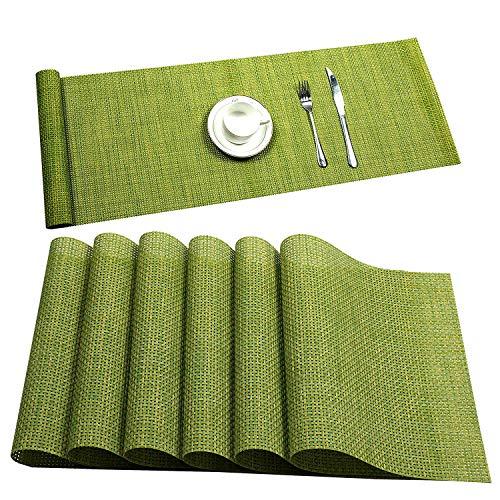 U'Artlines 6er Set Tischsets Waschbare Platzsets Rutschsicher Hitzebeständig Platzdeckchen-45 * 30cm(Silber-Grau) (Platzsets&Tischläufer, Grün)