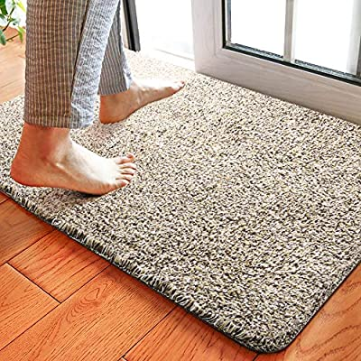 Delxo 24 x 36 Inch Magic Doormat Absorbs Mud Doormat No Odor Durable Anti-Slip Rubber Back Low-Profile Entrance Door Mat Large Cotton Shoe Scraper Pet Mat Machine Washable (Beige)