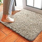 Delxo 18'x30' Magic Doormat Absorbs Mud Doormat No Odor Durable Anti-Slip Rubber Back Low-Profile Entrance Door Mat Large Cotton Shoe Scraper Pet Mat Machine Washable (Beige)