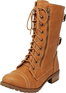 Cambridge Select Women's Round Toe Lace-up Buckle Zipper Chunky Heel Combat Boot