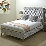 Admire BEDS New Royal Luxury Quality <span class='highlight'>Upholstered</span> <span class='highlight'>Chesterfield</span> <span class='highlight'>Style</span> <span class='highlight'>Sleigh</span> Bed Frame in stunning <span class='highlight'>Silver</span> Color of Crushed Velvet Fabric 4Ft6 (Double Size)