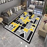 alfombras Lavables Alfombra Amarilla, patrón geométrico Easy Shop Warm Soft Anti-áciple alfombras persas -Amarillo_100x120cm
