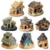 8 Stück Feengarten Miniatur-Steinhaus Möbel Ornamente Mini Feen Landhaus Miniatur-Gartenhäuser für Puppenhaus Zubehör Home Mikro-Landschaft Dekoration