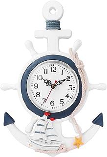 Garneck Wooden Ship Wheel Shape Vintage Rustic Wall Clock Decorative Silent Wall Clock Boat Ship Wheel Steering Wheel Naut...