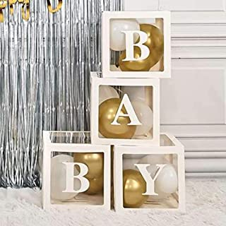 Baby Shower Decoration 4PCS Balloon Box with BABY Letters for Baby Girl Boy Registry Birthday Party Supplies Decor