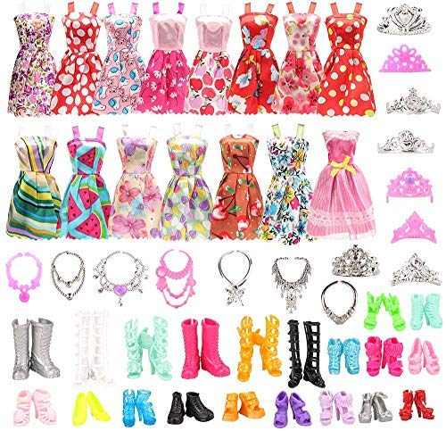 35 Kleidung Zubehör Schmuck Schuhe für 11,5 Zoll Mädchen Puppen +10 Mode Handgefertigte Kleider + 10 Schuhe + 3 Kronen + 6 Ketten + 4 Brille für Puppen