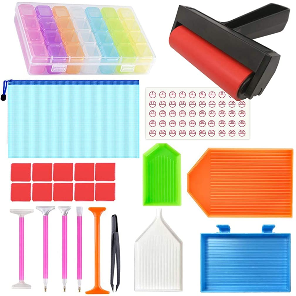 Toosunny 24 Pieces 5D Diamond Painting Tools and Accessories Kits with DIY Diamond Painting Roller and 28 Slots Diamond Embroidery Box for Adults or Kids