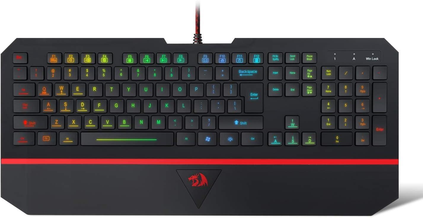 Redragon K502 RGB Gaming Keyboard RGB LED Backlit Illuminated 104 Key Silent Keyboard with Wrist Rest for Windows PC Games (RGB Backlit)