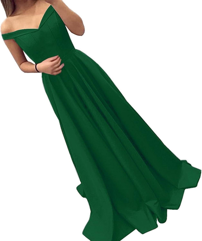 Ellystar Women's Off Shoulder Luxury ALine Satin Long Laceup Evening Dresses