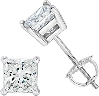 Unisex Princess Cubic Zirconia Screw Back Stud Earring 3 to 8 MM