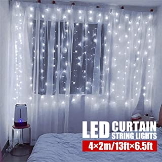 Hopolon Window Curtain Lights,8 Modes Plug in Twinkle FairyLights,Outdoor Indoor StringLights Wedding Party Home Garden Bedroom Wall Decorations,UL Certified(Cool White)