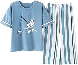 BABIFIS 2pcs / Set d'été Femmes Pyjamas Manches Co