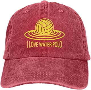 I Love Water Polo Athletic Cap for Women Men,All-Match UV Protection Vintage Cowboy Hat,Water Polo Olympics Cap