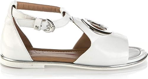 Fabi 6726 Weiße Kalbsleder flach italienische Designer Damen Sommer-Sandalen
