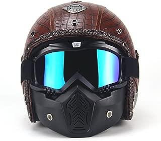 AUTOPDR 3/4 Motorcycle Chopper Bike Helmet Open Face Vintage Motorcycle Helmet with Goggle Mask (L(59-60cm), Brown1)