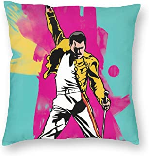SSG One Street Velvet Soft Cozy Decorative Square Throw Pillowcases Wedding Gift, Freddie Mercury The Show Must Go On Music Band Painting Removable Cushion Case for Car Playroom