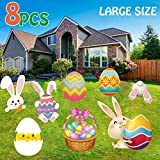 Happy Storm 8PCS Easter Yard Signs Decorations Outdoor Bunny Egg Chick Yard Stakes Sign Easter Garden Lawn Yard Decorations for Easter Egg Hunt Party Supplies Easter Props