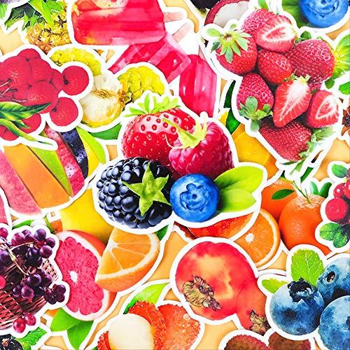 NOBRAND 32 Piezas Lindo Pintado A Mano Acuarela Frutas Cara Pegatina para Equipaje Monopatín Teléfono Portátil Pared Guitarra/DIY Scrapbooking 2,5 cm-4 cm