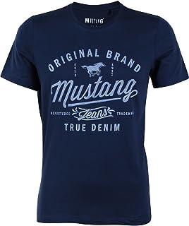 MUSTANG Maglietta da uomo a maniche corte con logo stampato in cotone nero bianco blu grigio S M L XL 2XL 3XL