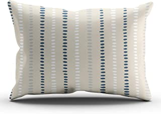 KAQIU Home Decoration Pillowcase Navy Blue White Beige Stripe Dots Custom Cushion Lumbar Size 12x24 Inch Throw Pillow Cover Hidden Zipper Chic & Personality Rectangular One Sided Printed Design