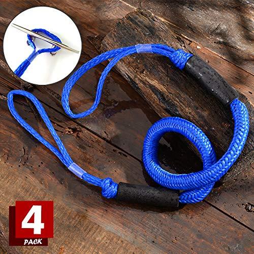Arola Bungee Dock Line Festmacher Seil für Boote Dock-Leine Bungee-Dock-Leinen Bungee-Schnüre Kajak Bootsankerzubehör Strecken 4 Pack (Blau)