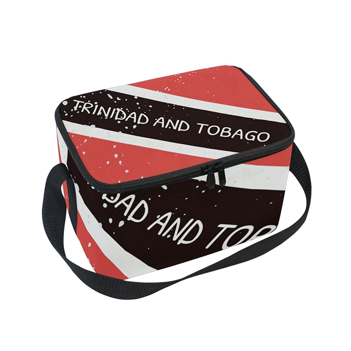 Distressed Trinidad And Tobago Flag Insulated Lunch Box Cooler Bag Reusable Tote Picnic Bags for Travel, Camping, Hiking and RVing