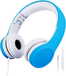 子供用ヘッドホン 85dB音量リミット 密閉型 折りたたみ式 有線 ヘッドセット (ブルー)