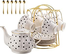 QJGhy Porcelain Tea Coffee Sets with Teapot Teaspoons Cups & Saucer European Style Teapot Cups Set Household Tea Set for Adults Woman and Man (Size : B(20 pieces))