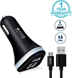 CZARTECH 4.8 Amp - 3 USB Port Car Charger for All Android and Apple Devices, with 1 mtr Micro USB Cable C5483C by Czartech
