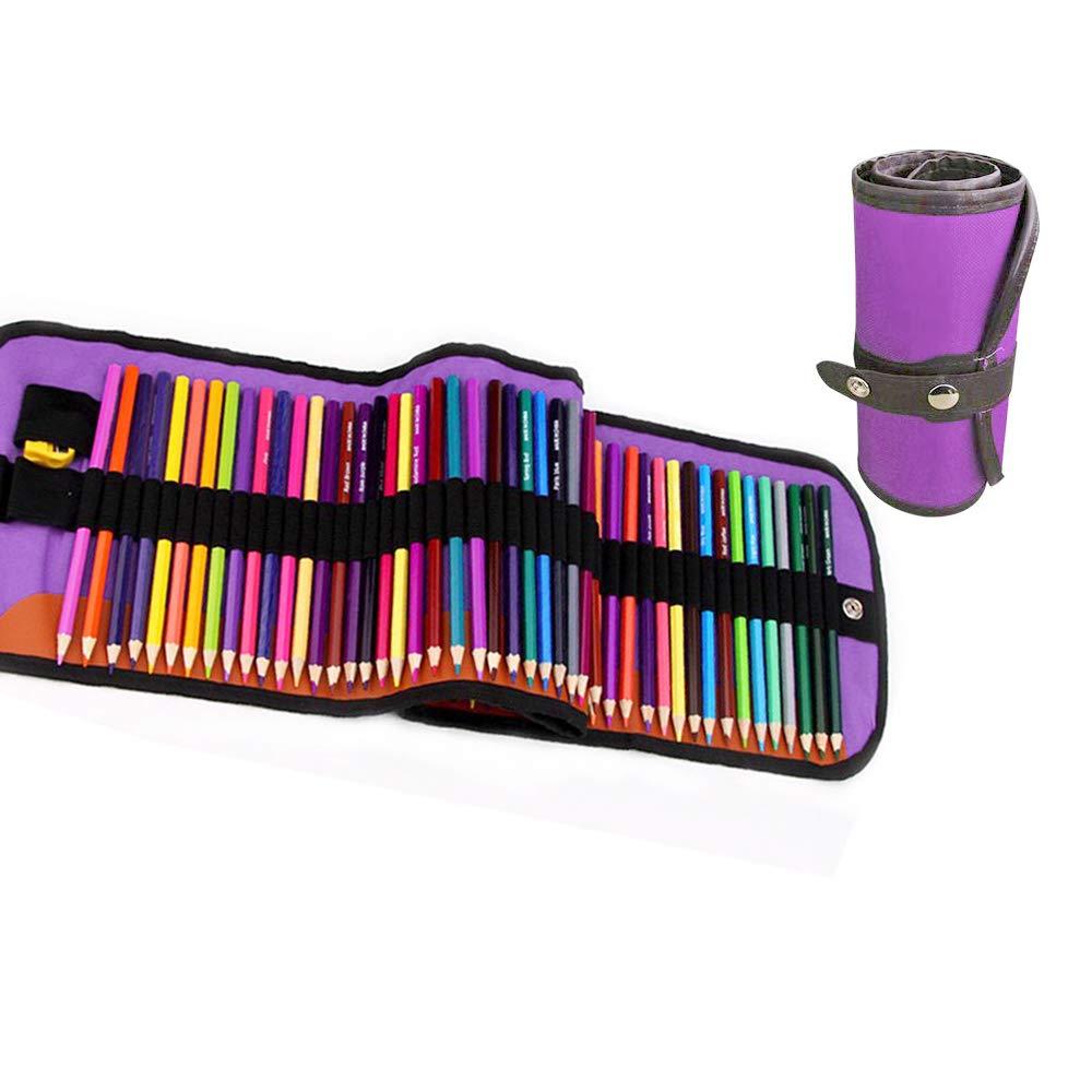 Set de lápices para colorear, Gobesty 48 lápices de colores para niños Lápices de colores artísticos Lápices de dibujo para adultos con estuche portátil de lona enrollable, sacapuntas, borrador, gorra: Amazon.es: Oficina