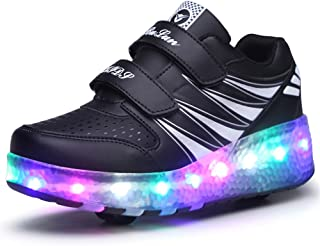 USB Charging Shoes Roller Shoes Girls Roller Skate Shoes Boys Kids LED Light up Wheel Shoes Roller Sneakers Shoes Wheels for Kids Best Gifts