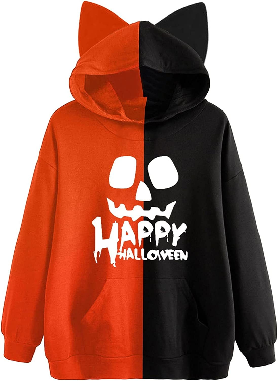 Fudule Halloween Costumes for Women Funny Skull Pumpkin Graphic Hoodies with Ears Cute Sweatshirts Long Sleeve Shirts