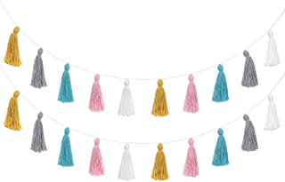 Mkono 2 Pack Cotton Tassel Garland Colored Tassels Banner Decorative Wall Hangings for Boho Home Decor, Birthday Christmas Day Party, Baby Shower, Nursey Dorm Room