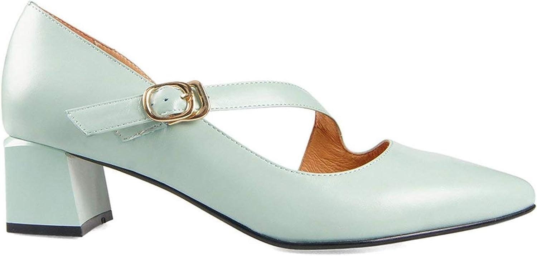Fashion Woman Luxury Genuine Leather Classic Buckle Slip-on High Square Heel Lady Pump