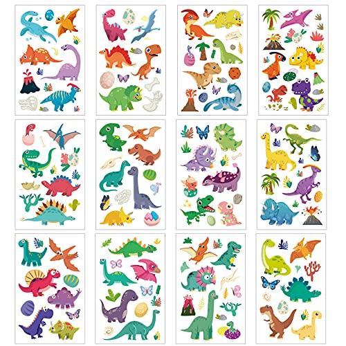 Dinosaur Temporary Tattoos SEELOK 12 Sheets Dinosaur Tattoo Stickers for Children for Girl Mermaid Birthday Party Favors Gift Bag Fillers