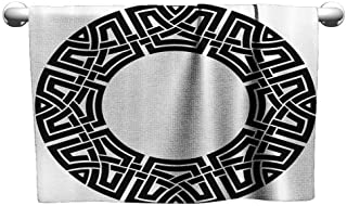 Cotton Craft Hand Towels Celtic Decor Collection Ornamental Round Celtic Frame with Folkloric Tied Knot Pattern Vintage Decorative Design Soft Bath Sheet 63 x 31 inch Black White