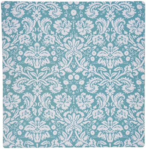 3dRose LLC 8 x 8 x 0.25 Inches Mouse Pad, Aqua Blue and White Damask Pattern Teal Turquoise Classic Stylish Vintage French Floral Swirls (mp_151456_1)