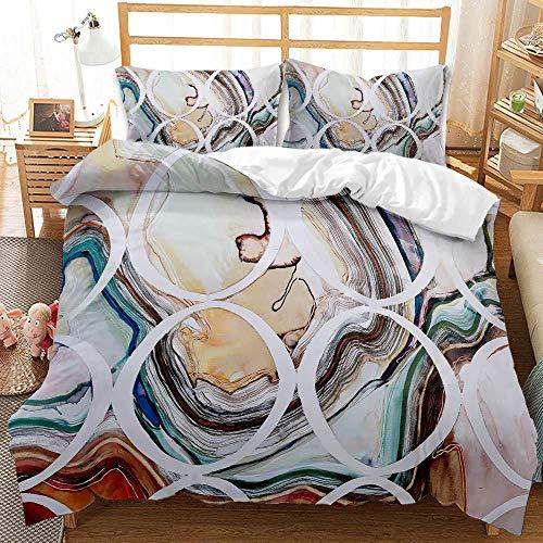 Kingsize påslakan, abstrakt marmorering mjukt borstad mikrofiber sängkläder set med dragkedja, 1 påslakan 230 x 220 cm + 2 matchande örngott 50 x 75 cm