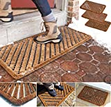 Heavy Duty Door Mat Rubber Scraper Indoor Outdoor Wire Boston Brush Coir Doorway Mat Wilsons Direct (39x59cm)