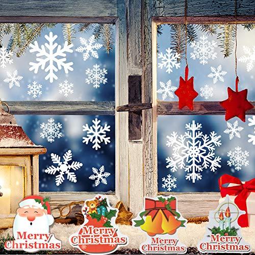JTENG 112 Schneeflocken Fensterbild, Fenster Aufkleber Abnehmbare Weihnachten Aufkleber Statisch Haftende PVC Aufkleber Weihnachtsaufkleber Weihnachten Dekoration