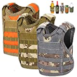 Accmor Beer Vest Tactical Mini Beer Jacket, 3 Pack Molle Adjustable Bottle Coozy Vest Beverage Cooler Holder Drink Vest for 12oz or 16oz Cans Bottles Decoration, Gift for Christmas & Father's Day