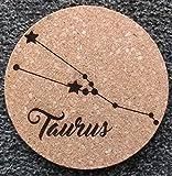GTBItaly - Salvamanteles de corcho cortado con láser con diseño de signo de zodiálico Toro Constellación Taurus cocina Idea regalo 18 cm