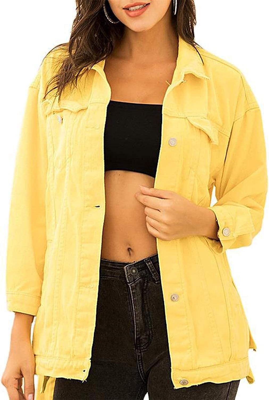 X&Armanis Women's Denim Lapel Jacket Fashion Casual Distressed Yellow Wild Outdoor Denim Jacket (Color : Yellow, Size : Medium)