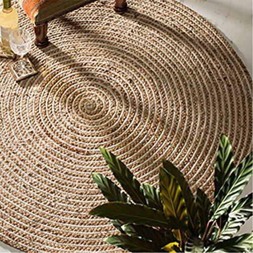Indian Arts Teppich, Fair Trade, rund, Jute und Baumwolle, geflochten, 120 cm Durchmesser, Natur